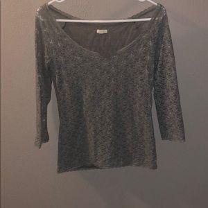 long sleeve gray floral shirt